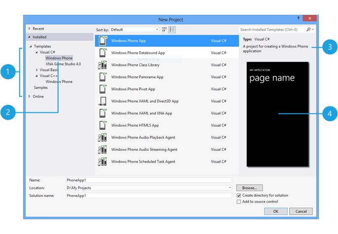 How to create a new app project from a template for Windows Phone 8