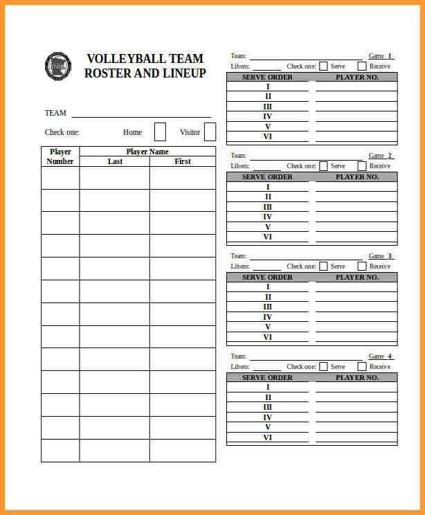 Blank Roster Sheet Printable Basketball Roster Sheet Free – Volleyball Roster Template