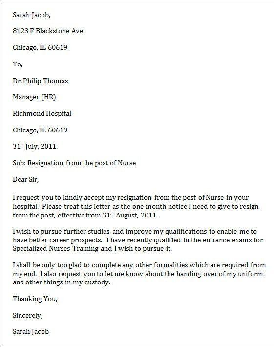 Resignation Letter Format: Resign Job Nursing Letter Of ...