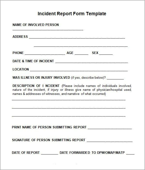 Accident Report Template. Injured Incident Reporting Form Sample ...