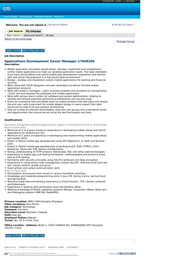Applications Development Senior Manager job at Citi in Shanghai ...