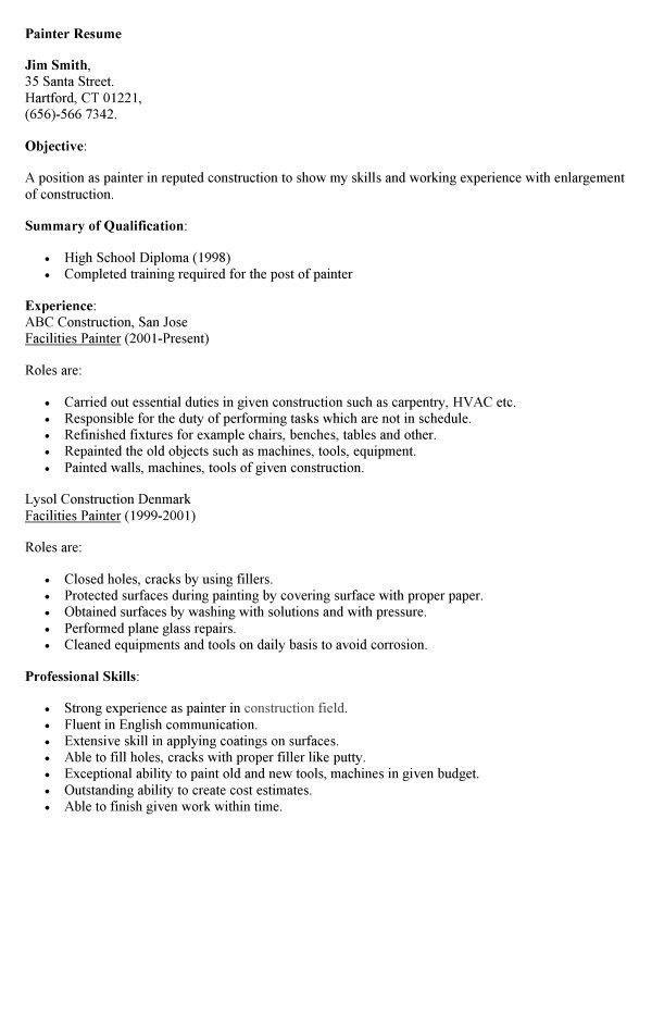Painter Resume Job Description. house painter job description ...