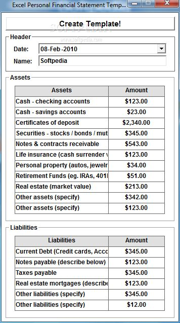 Excel Personal Financial Statement Template Software Download