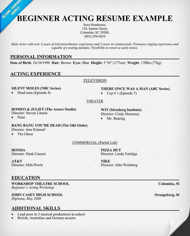 Peaceful Inspiration Ideas Child Actor Resume 9 Resume For Acting ...