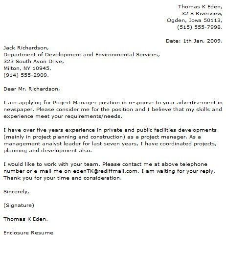 Construction Project Manager Cover Letter Program Manager Cover ...