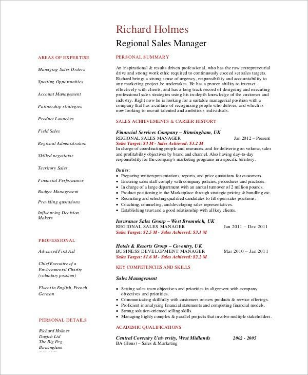 example of sales manager resume