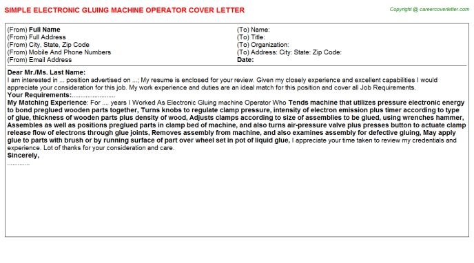 machine operator cover letter
