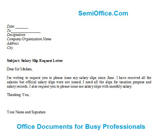 Salary Slip Request Letter Format | SemiOffice.Com - letter of ...