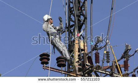 Highvoltage Electrical Insulator Electric Line Against Stock Photo ...