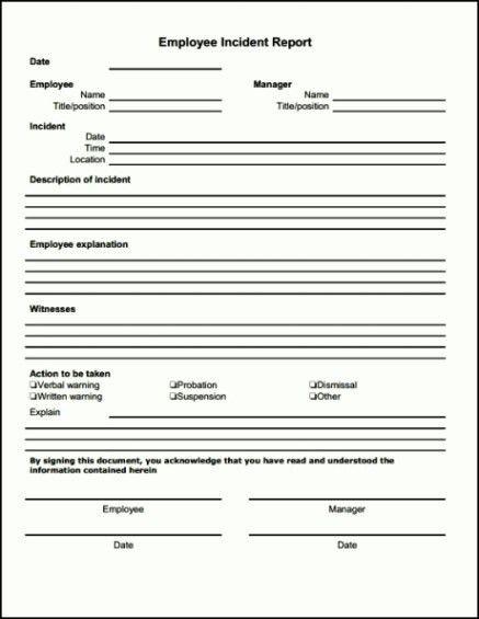 Bar Incident Report Form Template - Template Update234.com ...