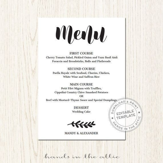53 best Wedding Menu Cards images on Pinterest | Wedding menu ...