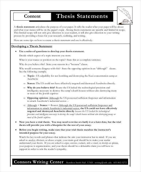 Thesis Statement Template - 9+ Free PDF, Word Documents Download ...