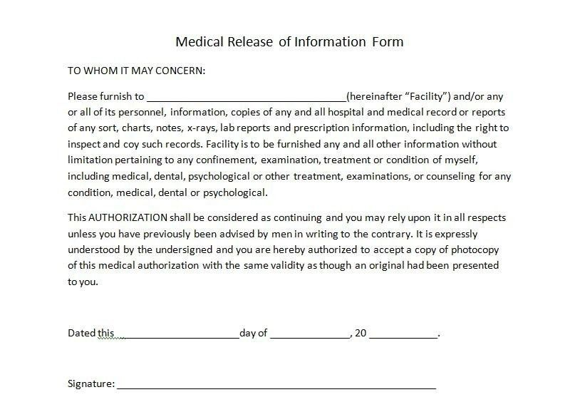 Awesome Medical Release Of Information Form Template Ideas - Best ...
