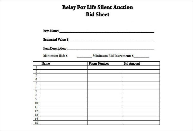 Silent Auction Bid Sheet Templates - Creative Template | Creative ...