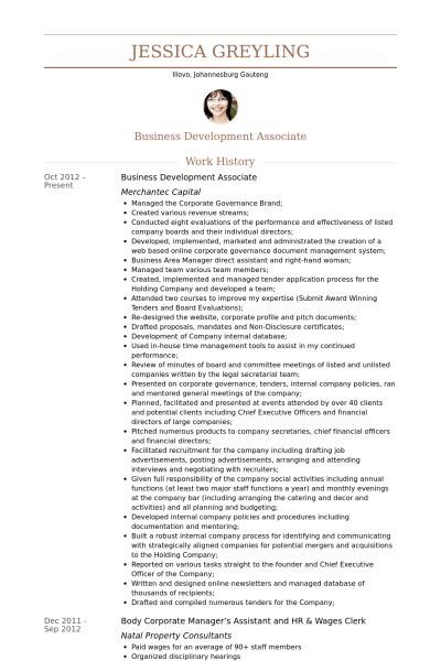 Business Development Associate Resume samples - VisualCV resume ...