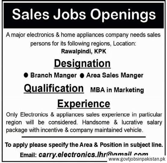 Electronics Home Appliances Company Job, Branch Manager, Area ...