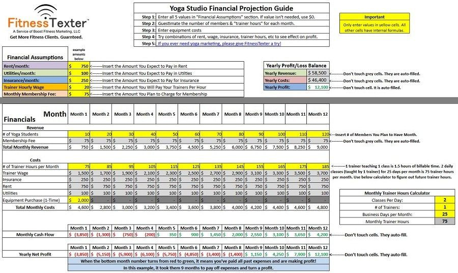 Free Yoga Studio Financial Spreadsheet Template