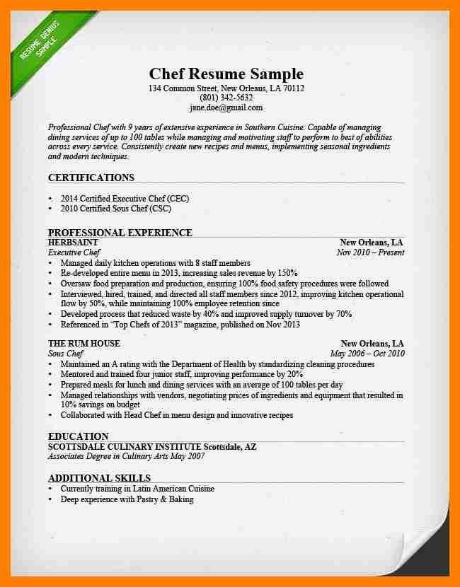 Head Chef Resume - formats.csat.co