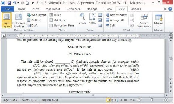 Free Residential Purchase Agreement Template For Word
