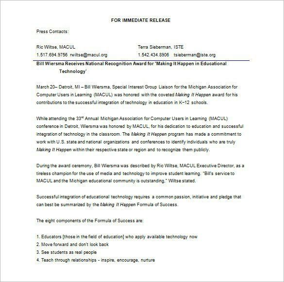 Press Release Template Word | Template Design