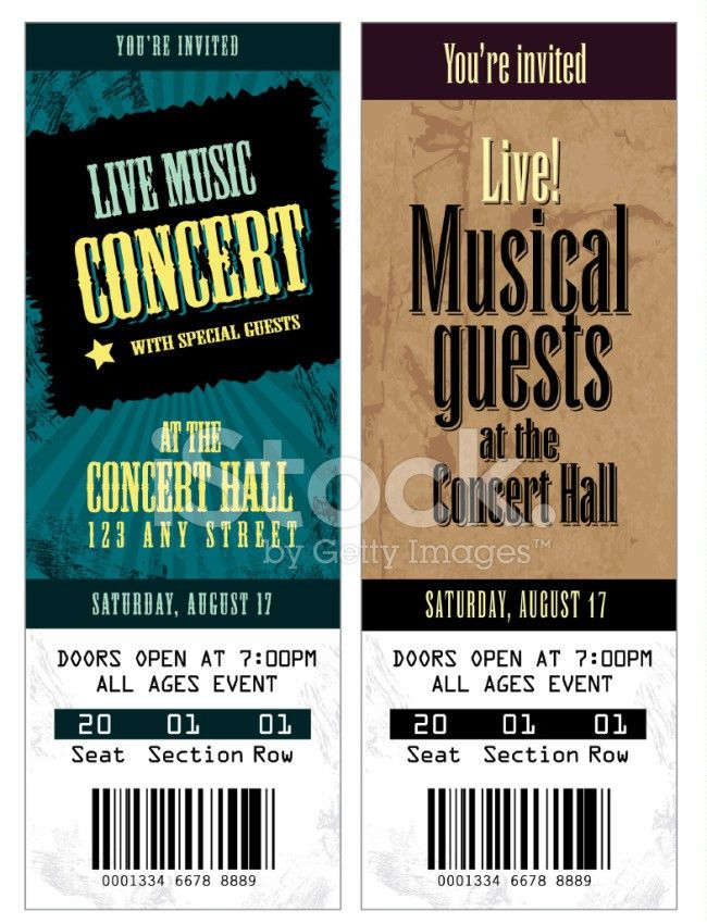 Gorgeous Concert Ticket Template Samples with Blue and Brown ...