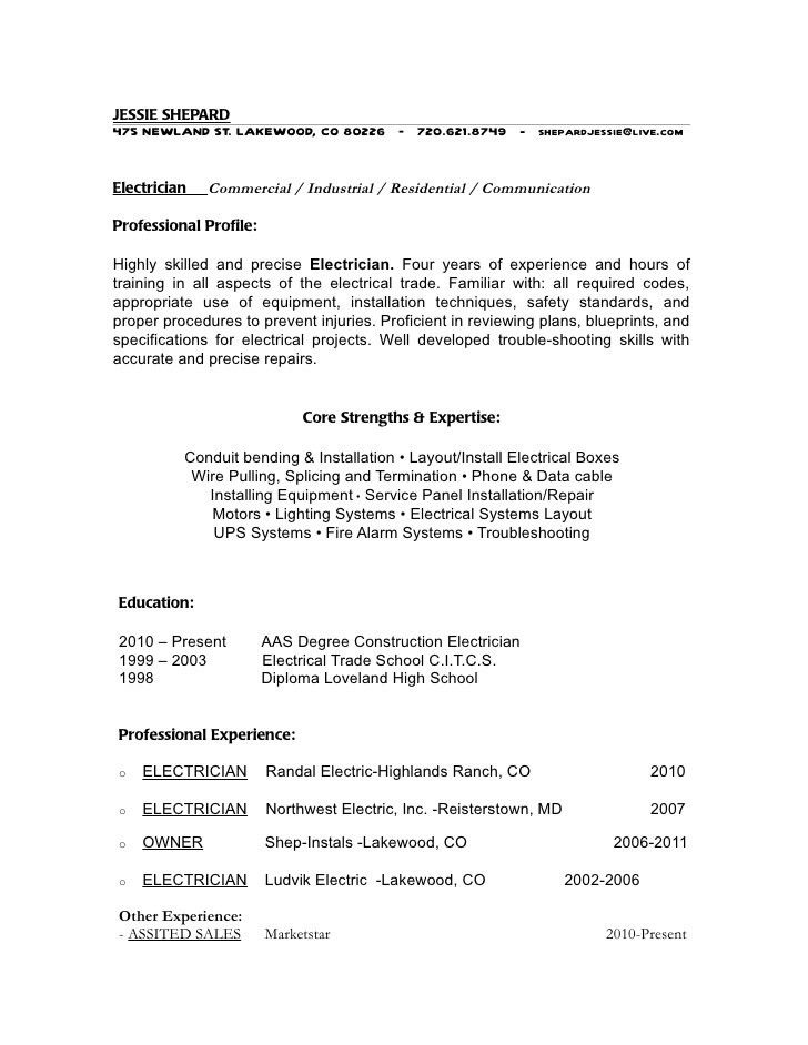 Industrial Electrician Resume CV Free Template : Vntask.com