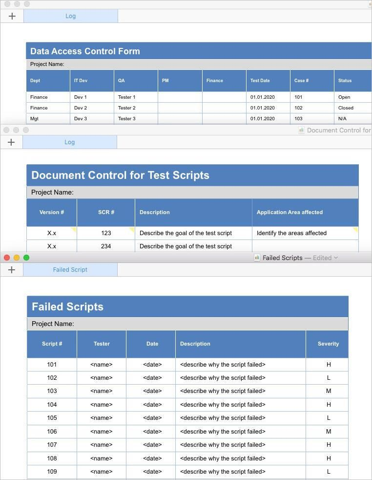 Software Testing Templates (Apple iWork Pages/Numbers)
