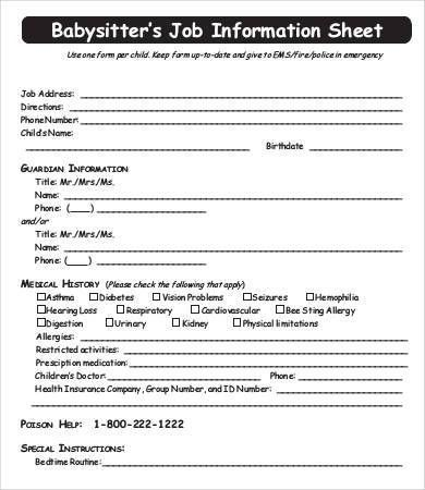 Babysitter Information Sheet Template - 6+ Free Word, PDF ...