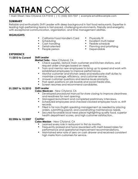 Best Restaurant/Bar Shift Leader Resume Example | LiveCareer