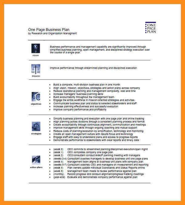 4+ one page business plan   resume setups
