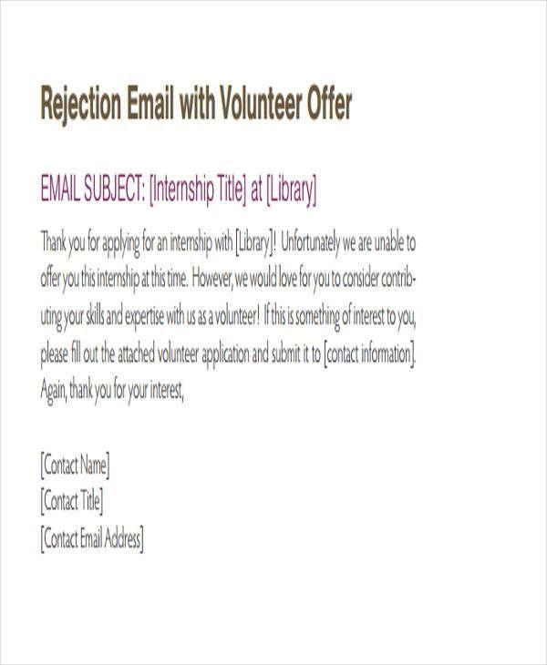 Internship Rejection Letter Templates - 6+ Free Word, PDF Format ...