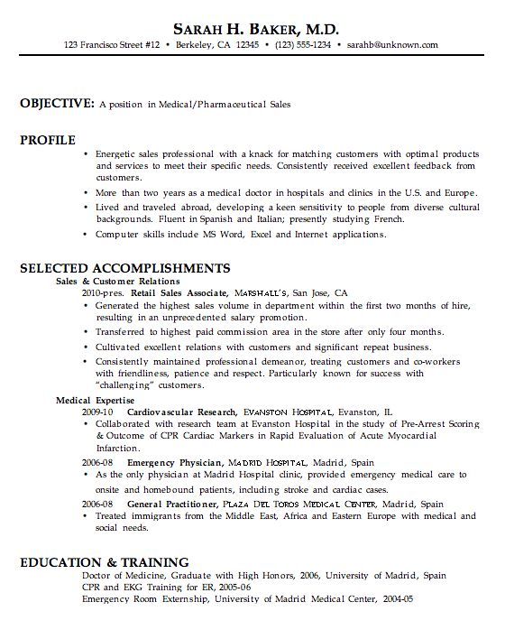 Sample Medical Resume | Experience Resumes