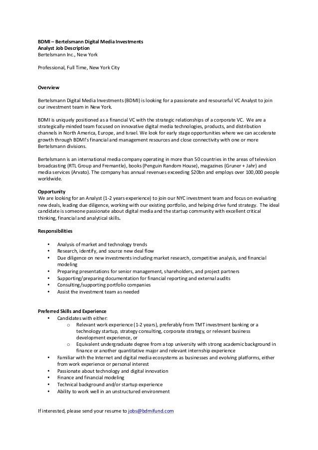BDMI 2016 Analyst Job Description
