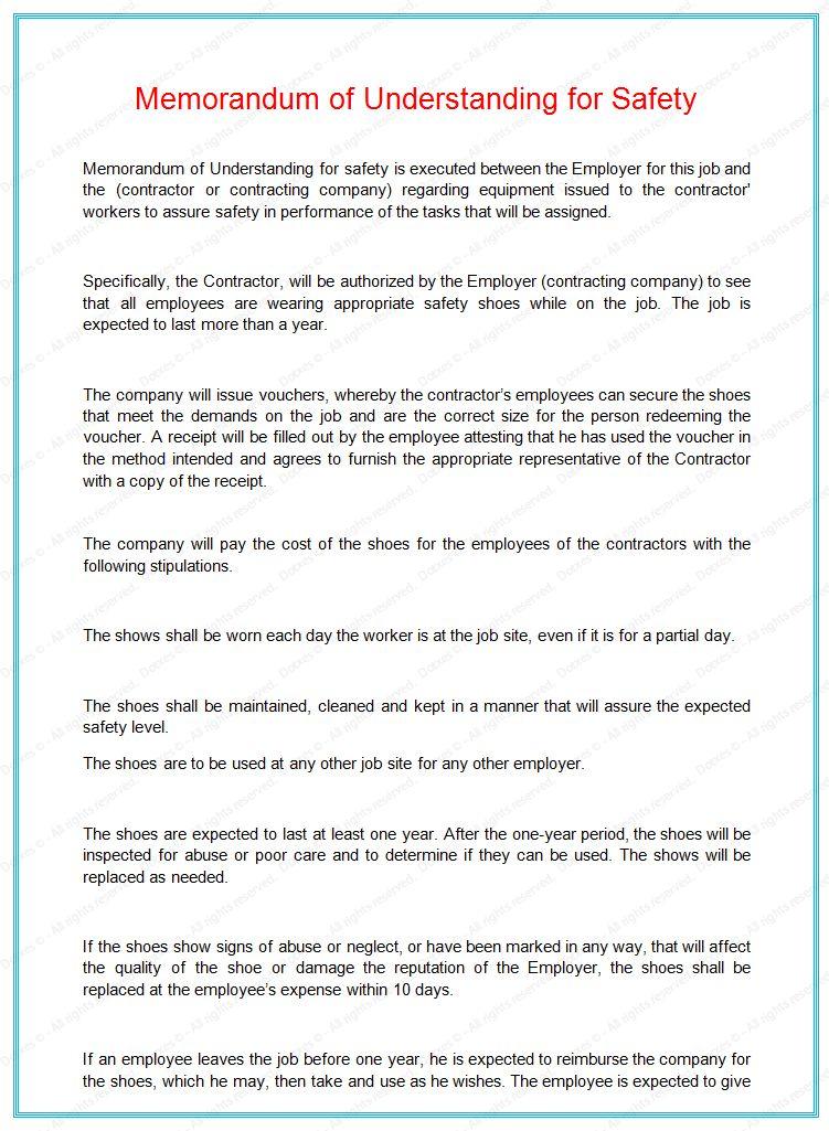 Memorandum understanding sample letter - Dotxes