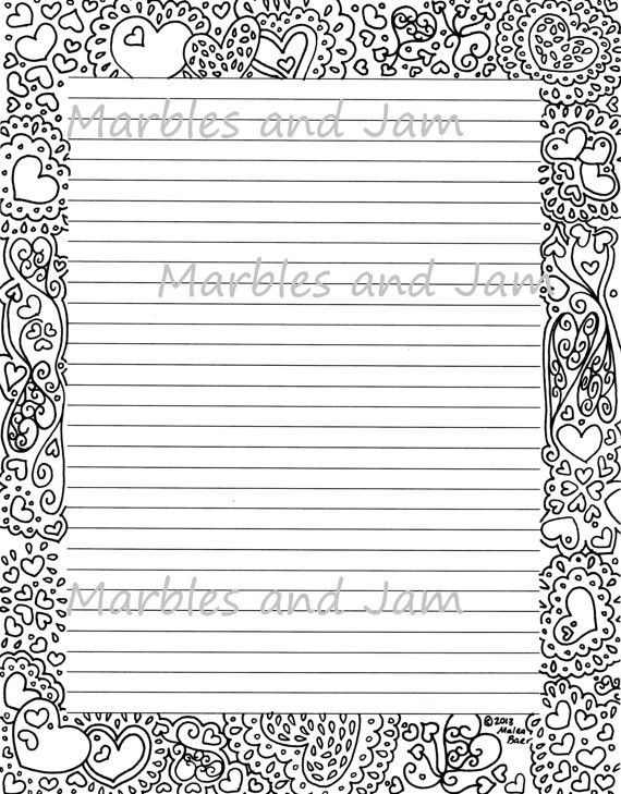 Hearts border lined printable stationery and coloring page