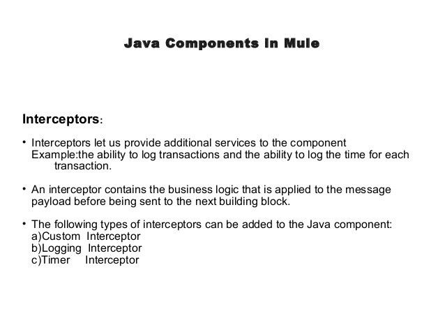 Java components in Mule