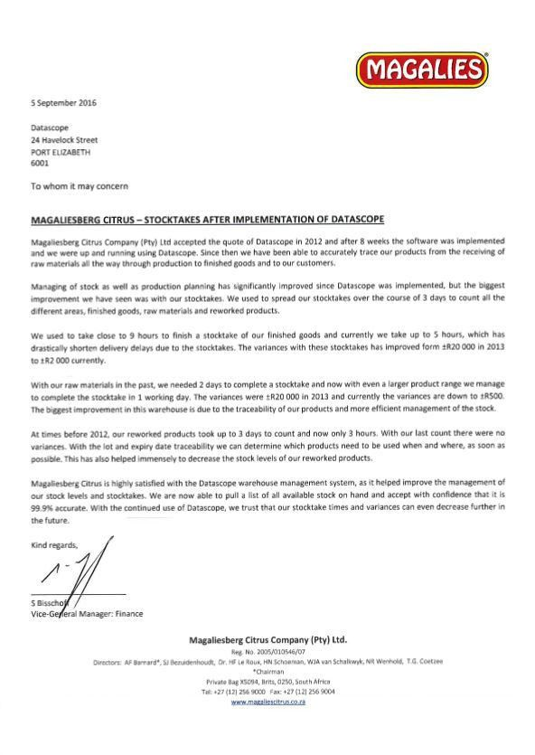 CUSTOMER REFERENCE LETTER - MAGALIES