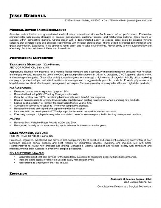 sample resume for medical sales representative pharmaceutical