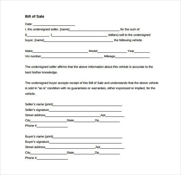 Sample Vehicle Bill of Sale Form - 8+ Download Free Documents In PDF