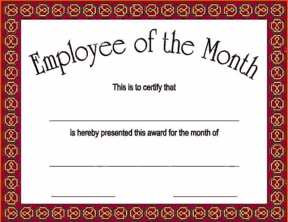 Certificate Template Employee Of The Month   Certificate234