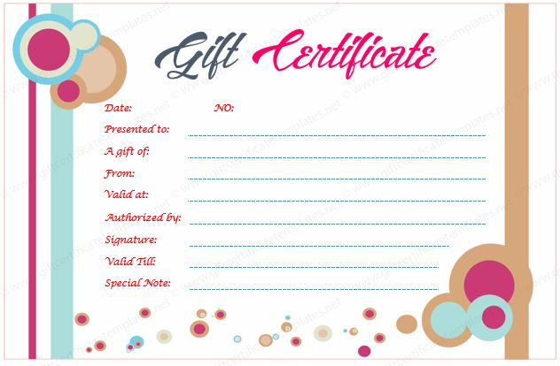 Circle Gift Certificate Template