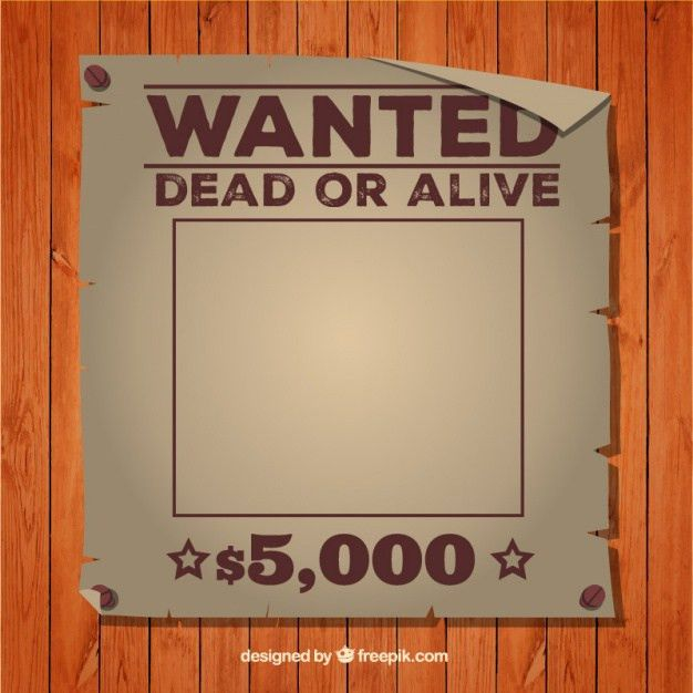Wanted dead or alive poster template Vector | Free Download