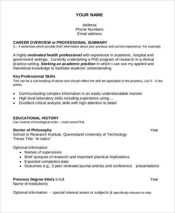 academic cv examples