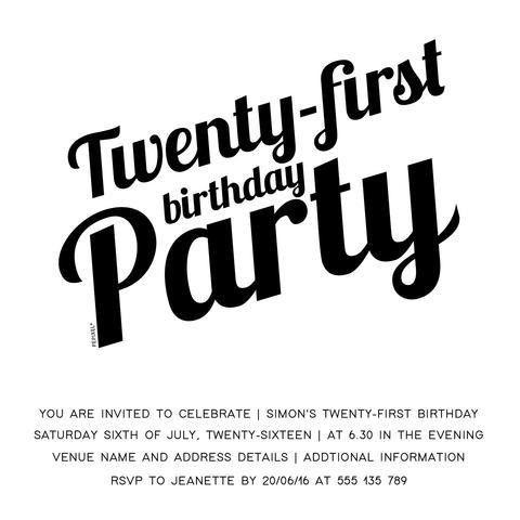 21st Birthday Party Digital Printable Invitation Template - League Par