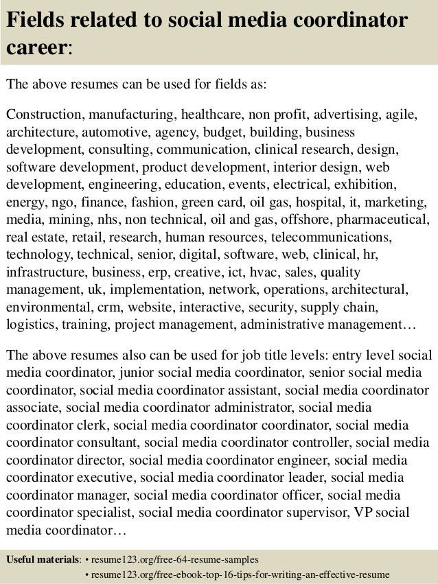 Digital Media Coordinator Resume Social