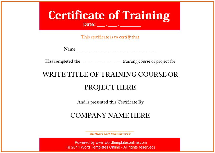 Training Certificate Template - Microsoft Word Templates