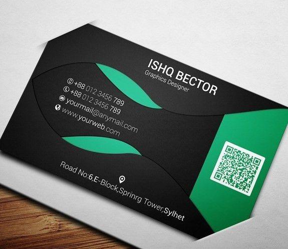 Free Black & Green ECO Business Card Template PSD - TitanUI