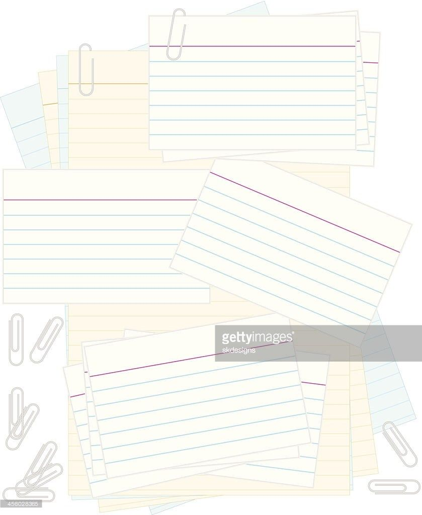 White Note Or Recipe Cards Paper Clips Colored Notepad Background ...