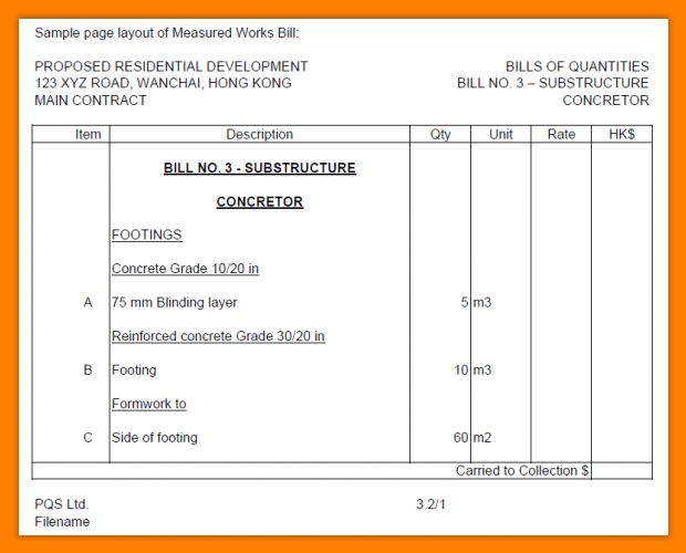 11+ bill of quantities format | dialysis-nurse