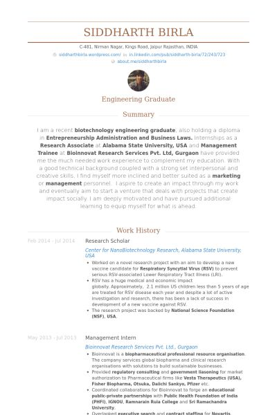 Research Scholar Resume samples - VisualCV resume samples database